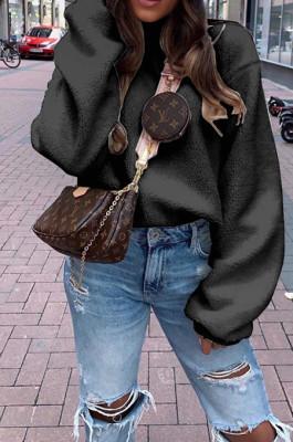 Black Casual Wholesal Velvet Long Sleeve O Neck Solid Color Blouse BM7039-2