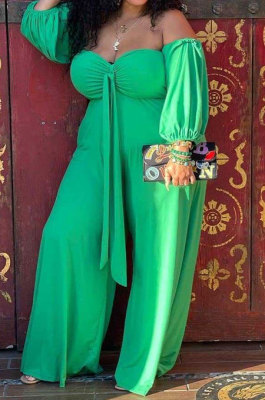 Green Women New Casual Solid Color Off Shoulder Sexy Loose Plus Jumpsuit MF6637-1