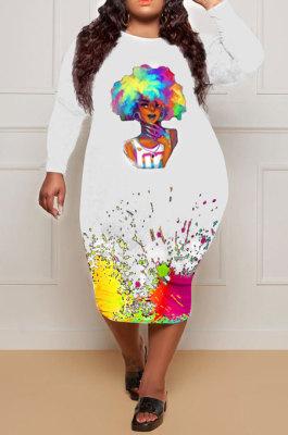 White Euramerican Women Fashion Long Sleeve Round Collar Printing Plus Midi Dress HHB4046-2