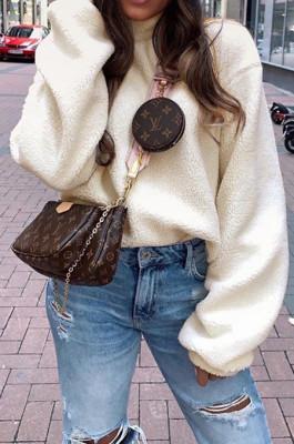 Cream White Casual Wholesal Velvet Long Sleeve O Neck Solid Color Blouse BM7039-1