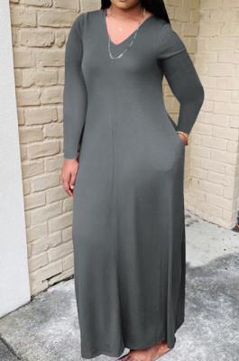 Gray Bid Yards Wholesal Simple Long Sleeve V Neck Loose Casual Long Dress QSS51041-1