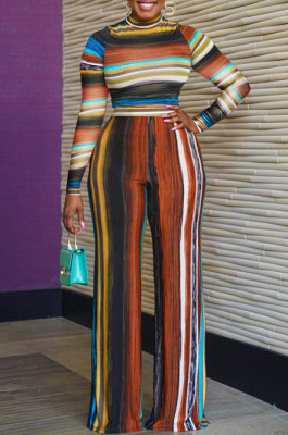 Brown New Colorful Stripe Printing Long Sleeve High Neck Crop Top High Waist Wide Leg Pants Two-Piece AMX6053-3