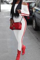 White Fashion Casual A Wrod Shoulder Long Sleeve Crop Top Pencil Pants Edge Strip Sport Sets SM9201-2