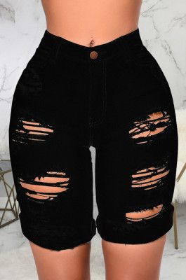 Black Modest Cute Hole Water Washing High Waist Elastic Jean Shorts SMR2440-4
