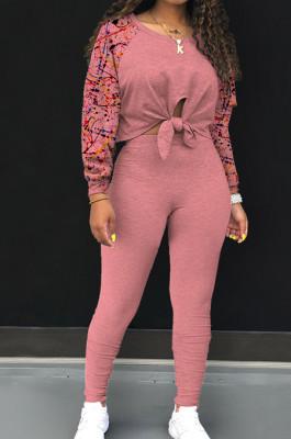 Pink Cotton Blend Splash-Ink Spliced Long Sleeve Round Neck Blouse Tight Pencil Pants Casual Sets BM7217-2