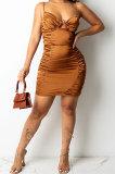Brown Euramerican Solid Color Trendy Women Sexy Condole Belt Sleeveless Strapless Mini Dress XZ5272-2