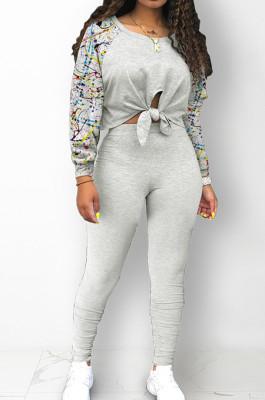 Light Gray Cotton Blend Splash-Ink Spliced Long Sleeve Round Neck Blouse Tight Pencil Pants Casual Sets BM7217-1