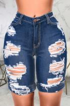 Dark Blue Modest Cute Hole Water Washing High Waist Elastic Jean Shorts SMR2440-3
