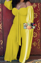 Yellow Women New Casual Solid Color Off Shoulder Sexy Loose Plus Jumpsuit MF6637-3
