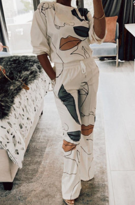 White Digital Pinting Long Sleeve O Neck Top Drawsting Wide Leg Pants Casual Two-Piece AMX6052