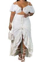 White Euramerican Sexy Deep V Collar Solid Color Mid Waist Ruffle Plus Skirt Sets K5101