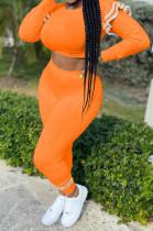 Orange Wholesal Women Flounce Long Sleeve Round Collar Crop Top Bodycon Pants Two-Piece ZQ8115-3