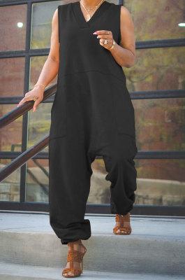Black Women Sleeveless V Collar Solid Color Fleece Loose High Waist Casual Jumpsuit OMY0027-2