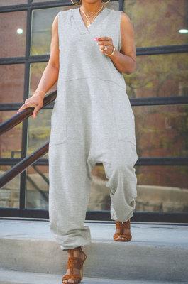 Gray Women Sleeveless V Collar Solid Color Fleece Loose High Waist Casual Jumpsuit OMY0027-1