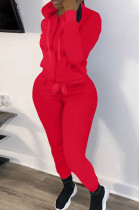 Red New Casual Long Sleeve Zippet Hoodie Sweat Pants Solid Color Two-Piece YM216-5