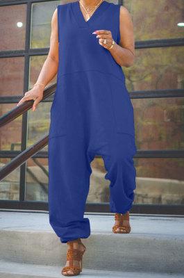Blue Women Sleeveless V Collar Solid Color Fleece Loose High Waist Casual Jumpsuit OMY0027-3