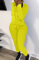 Yellow New Casual Long Sleeve Zippet Hoodie Sweat Pants Solid Color Two-Piece YM216-3