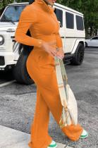 Orange Euramerican Women Long Sleeve Stand Neck Zippet Coat Elasticband High Waist Wide Leg Pants Sport Two-Piece YYF8245-5