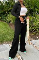 Black Euramerican Women Long Sleeve Stand Neck Zippet Coat Elasticband High Waist Wide Leg Pants Sport Two-Piece YYF8245-1