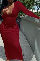 Dark Red Women Deep V Neck Tight Sexy Long Sleeve Long Dress Q910-15