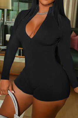 Black Wholesal Simple Pure Color Long Sleeve Stand Neck Zippet Collcet Waist Tight Romper Shorts DN8630-5