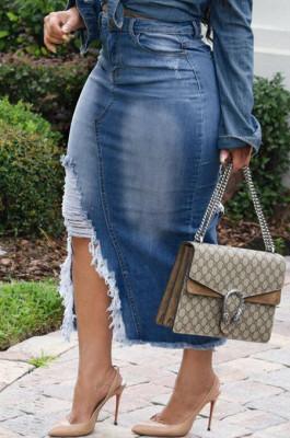 Blue Casual Hole Elasticty High Waist Split Jean Long Skirts SMR2537-1