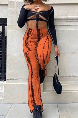 Orange New High Waist Spots Printing Flared Pants BM7210-2