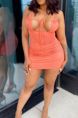 Orange Sexy Condole Belt Hollow Out Ruffle Bandage Backless Slim Fitting Mini Dress BN9289-3