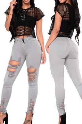 Gray Fashion Hole Water Washing Slim Fitting Elastic Jean Pencil Pants SMR2458-1