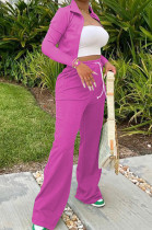 Rose Red Euramerican Women Long Sleeve Stand Neck Zippet Coat Elasticband High Waist Wide Leg Pants Sport Two-Piece YYF8245-3