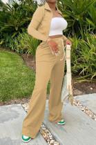 Khaki Euramerican Women Long Sleeve Stand Neck Zippet Coat Elasticband High Waist Wide Leg Pants Sport Two-Piece YYF8245-2