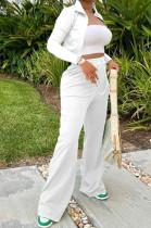 White Euramerican Women Long Sleeve Stand Neck Zippet Coat Elasticband High Waist Wide Leg Pants Sport Two-Piece YYF8245-4