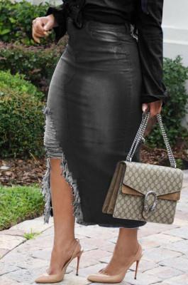 Black Casual Hole Elasticty High Waist Split Jean Long Skirts SMR2537-4