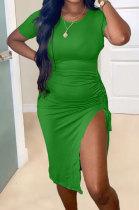 Green Pure Color Short Sleeve Round Collar Drawsting Split Mini Dress OMY0021-2