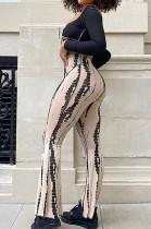 Khaki New High Waist Spots Printing Flared Pants BM7210-5