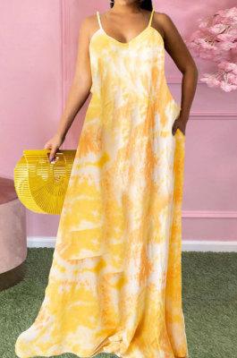 Yellow Women Fashion Condole Belt Printing Pocket Plus Long Dress PH1235-1