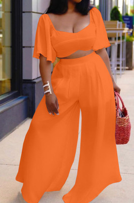 Orange New Wholesal Loose Sleeeve Strapless Wide Leg Pants Solid Color Casual Sets WA7206-3