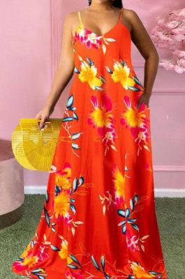 Red Women Fashion Condole Belt Printing Pocket Plus Long Dress PH1235-2