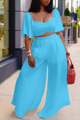 Sky Blue New Wholesal Loose Sleeeve Strapless Wide Leg Pants Solid Color Casual Sets WA7206-1