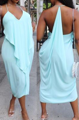 Light Blue Sexy Summer Flounce Irregularity Condole Belt Loose Split Dress WA77210-1