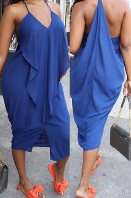 Drak Blue Sexy Summer Flounce Irregularity Condole Belt Loose Split Dress WA77210-2