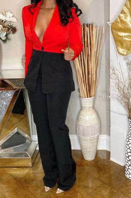 Red Wholesal Women Spliced Long Sleeve Lapel Neck Small Suits Casual Long Pants OA Sets WJ5082-2