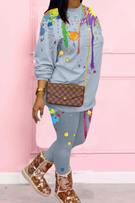 Gray Casual Splash-Ink Printing Long Sleeve Round Neck Jumper Sweat Pants Two-Piece WJ5113-2