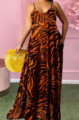 Brown Women Fashion Condole Belt Printing Pocket Plus Long Dress PH1235-4