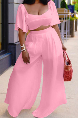 Pink New Wholesal Loose Sleeeve Strapless Wide Leg Pants Solid Color Casual Sets WA7206-4