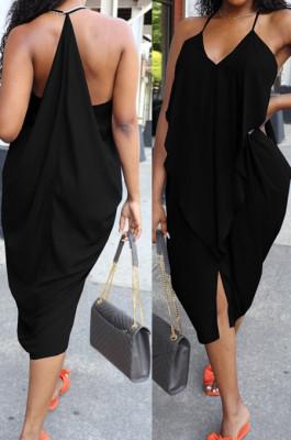 Black Sexy Summer Flounce Irregularity Condole Belt Loose Split Dress WA77210-3