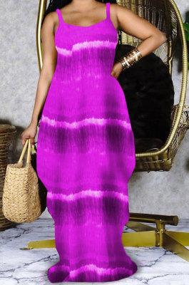 Purple Women Printing Loose Pocket Condole Belt Long Dress PH1233-3