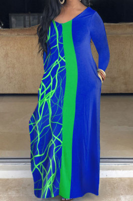 Blue Big Yards Women Printing Long Sleeve V Neck Collcet Waist Long Dress YSH00002