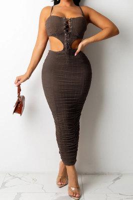 Brown Trendy Pure Color Women Sexy Condole Belt Bandage Strapless Backless Ruffle Dew Waist Long Dress XZ5287-3
