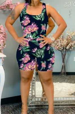 Purple Summer Casaul Positioning Print Tank Slim Fitting Romper Shorts WA77217-3